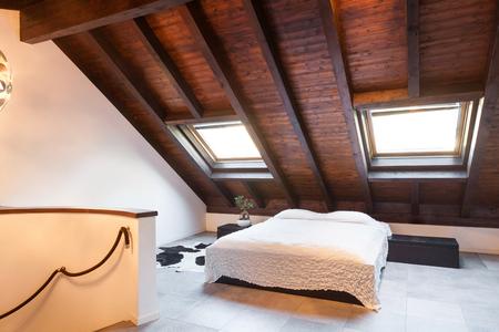 Interior, beautiful loft, luxurious bedroom photo