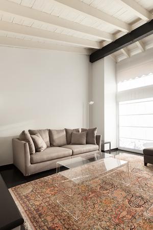 view of an elegant living room: interior, comfortable loft, modern furniture, living room