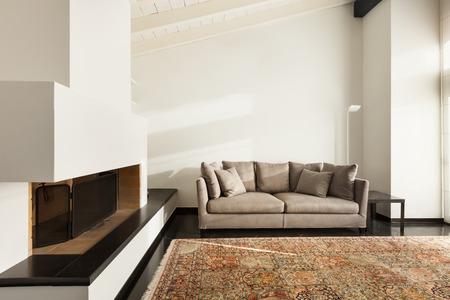 interior, comfortable loft, modern furniture, living room photo