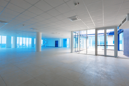 office ceiling: Empty room with big panoramic window Stock Photo