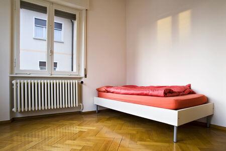 interior, white bedroom with window photo