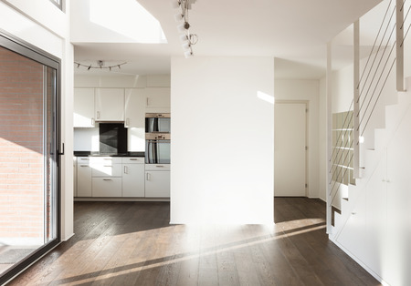 wide open spaces: beautiful interior of a new apartment, wide empty living room