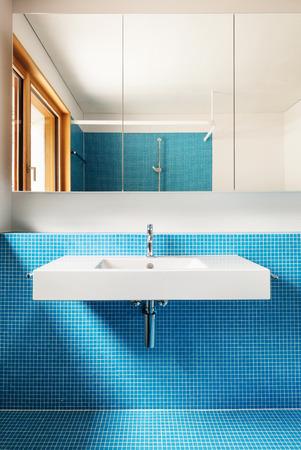house modern design, interior, blue bathroom  photo
