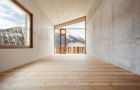 interior, modern house with wooden wall, large window photo