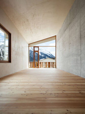 chalets: architecture modern design, mountain home, room  Stock Photo