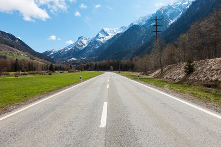 mountain road: Road and mountain in Switzerland