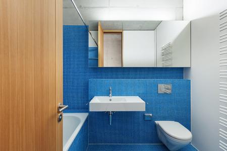 bathroom mirror: house modern design, interior, blue bathroom
