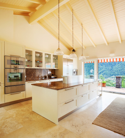 attic: Modern kitchen in the attic Stock Photo