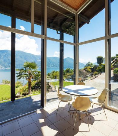 veranda: Architecture, interior with landscape view, veranda Stock Photo