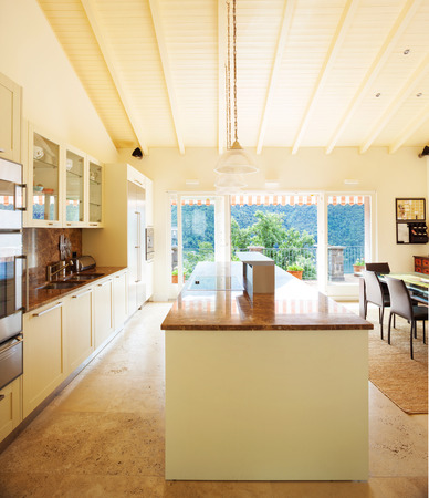 inddor: Modern kitchen in the attic Stock Photo