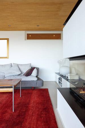 modern living: modern house interior, living room Stock Photo