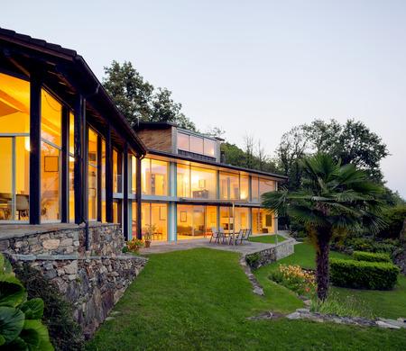 alight: Landscape with alight villa Stock Photo