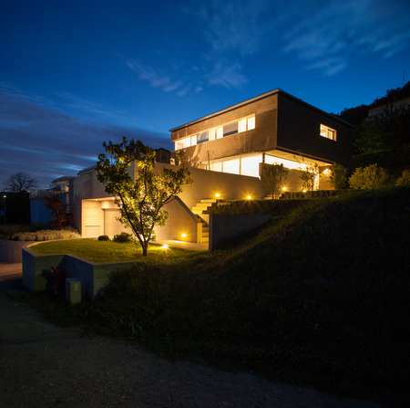 House of modern design, night view photo