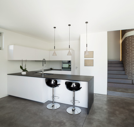 Interior design, modern apartment, kitchen