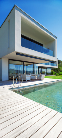 Modern house with pool in exterior photo