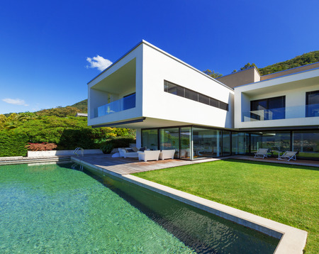 Luxury Villa with Infinity Pool Stock Photo