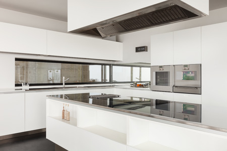 kitchen counter top: Architecture, beautiful interior of a modern villa, domestic kitchen