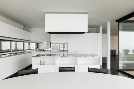 kitchen table top: Architecture, beautiful interior of a modern villa, domestic kitchen