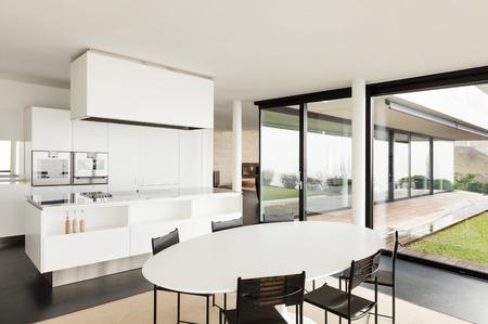 Architecture, bel intérieur d'une villa moderne, cuisine domestique
