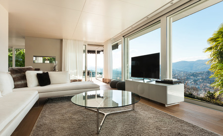 contemporary living room: beautiful interiors of a modern house, living room Stock Photo