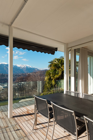 veranda: Modern house, view from veranda