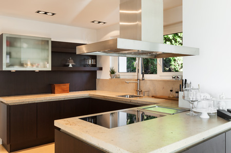 beautiful interiors of a modern house, domestic kitchen photo