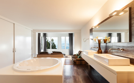 beautiful interiors of a modern house, bedroom view from bath photo
