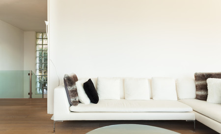 furnished: beautiful interiors of a modern house, living room, white divan Stock Photo