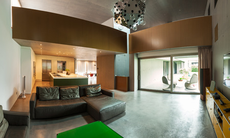 duplex: beautiful modern house in cement, interiors, view from the living room