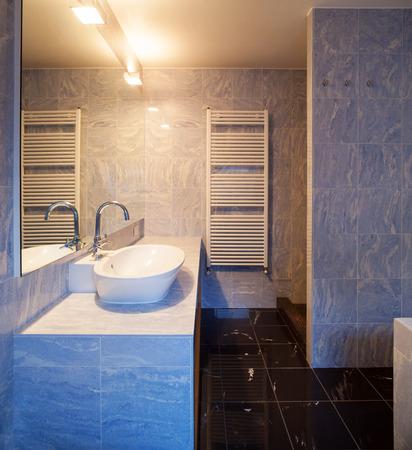 bathroom design: Beautiful modern penthouse, bathroom view Stock Photo