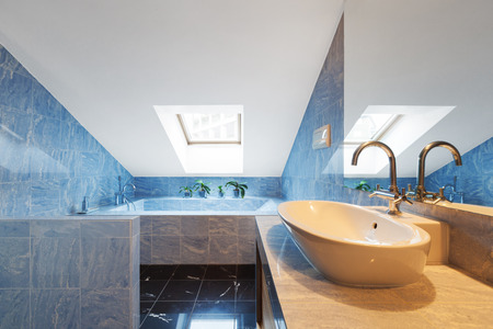 penthouse: Beautiful modern penthouse, bathroom view Stock Photo