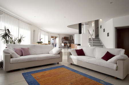 livingroom: interior apartment, livingroom with sofa and carpet Stock Photo