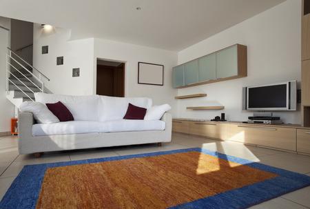 duplex interior livingroom, furnished, carpet, sofa, tv photo