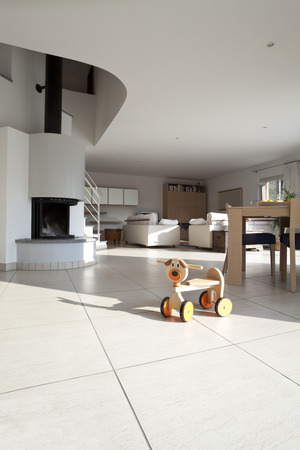openspace: bright open-space interior livingroom with wooden toy