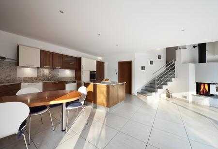 duplex: modern and bright interior duplex apartment Stock Photo