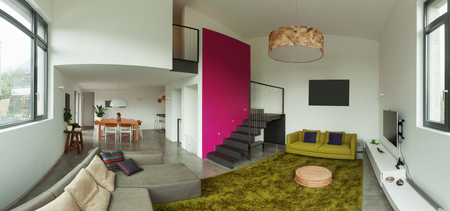 Interior of modern villa, living room photo