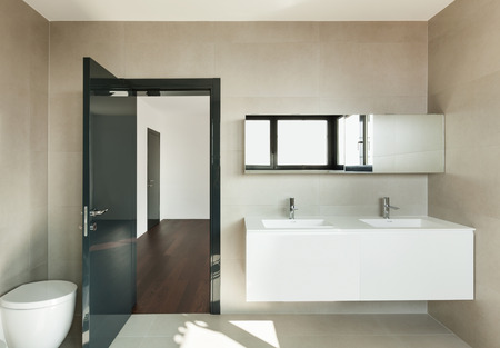 bathroom sink: Modern bathroom, interior of a new house