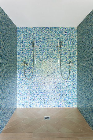 bathroom tile: Interior modern house, shower view
