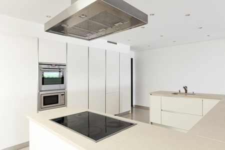 wide open spaces: interior of a modern house, domestic kitchen