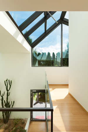 skylights: view of a modern building, interior