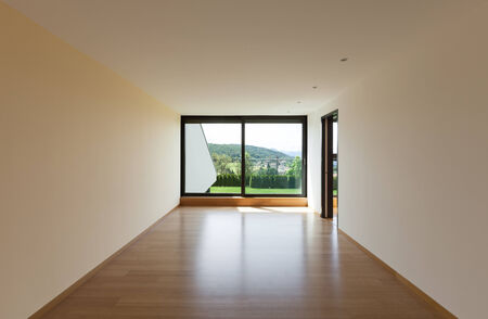 perspective room: interior of a modern house, room with window Stock Photo