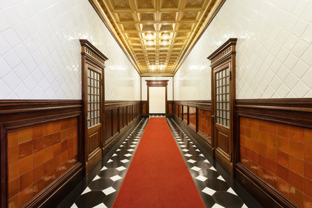 real renaissance: interior, long hallway of an old palace Stock Photo