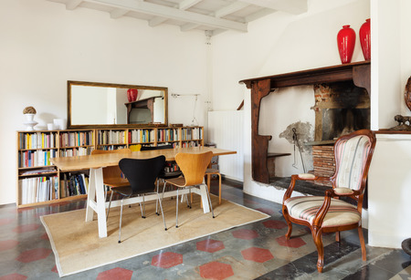ceiling: comfortable dining room, fireplace, interior of a nice loft