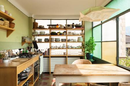 comfortable kitchen, interior of a nice loft photo