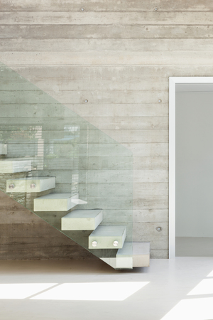 concrete stairs: House, interior, modern architecture, staircase view
