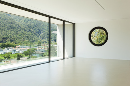 wide open spaces: House, interior, modern architecture, wide room, view from window Stock Photo
