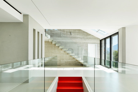 House, interior, modern architecture, staircase view