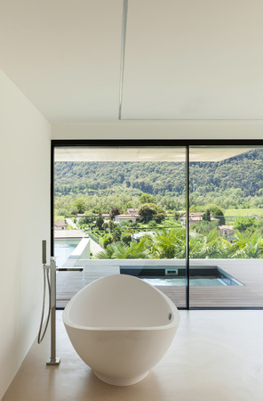 House, interior, modern architecture, bathroom view