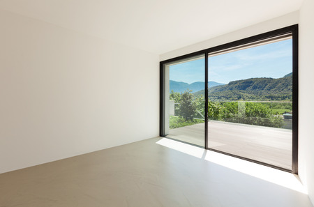 glass doors: House, interior, modern architecture, empty room with window