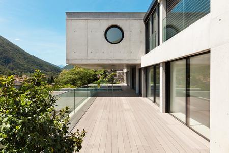 building external: House,  modern architecture, long terrace, outdoor